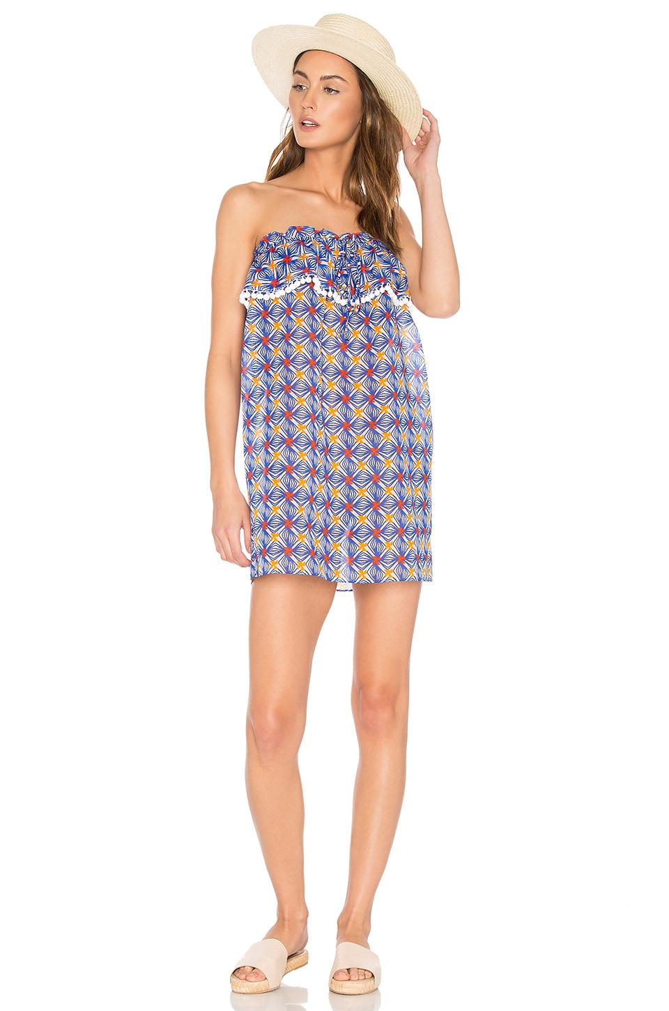 Anguilla Ruffled Strapless Dress by MILLY
