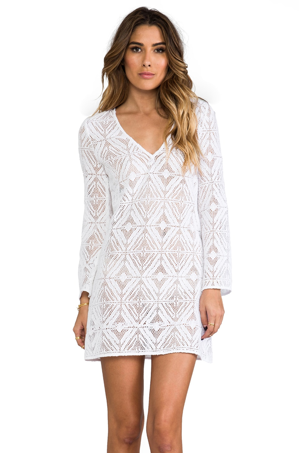 MILLY Mykonos Crochet Tunic in White