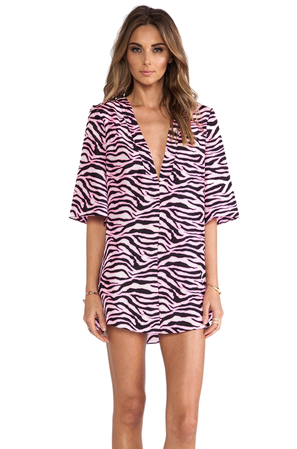 MILLY Capella Deep V Neck Tunic Dress in Fluo Pink