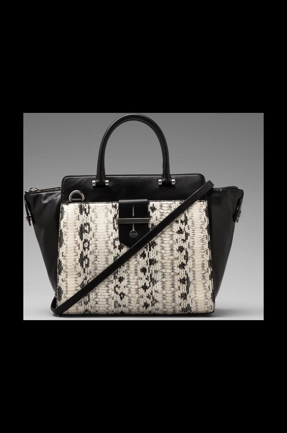 MILLY Makenna Watersnake Collection Tote in Black/White
