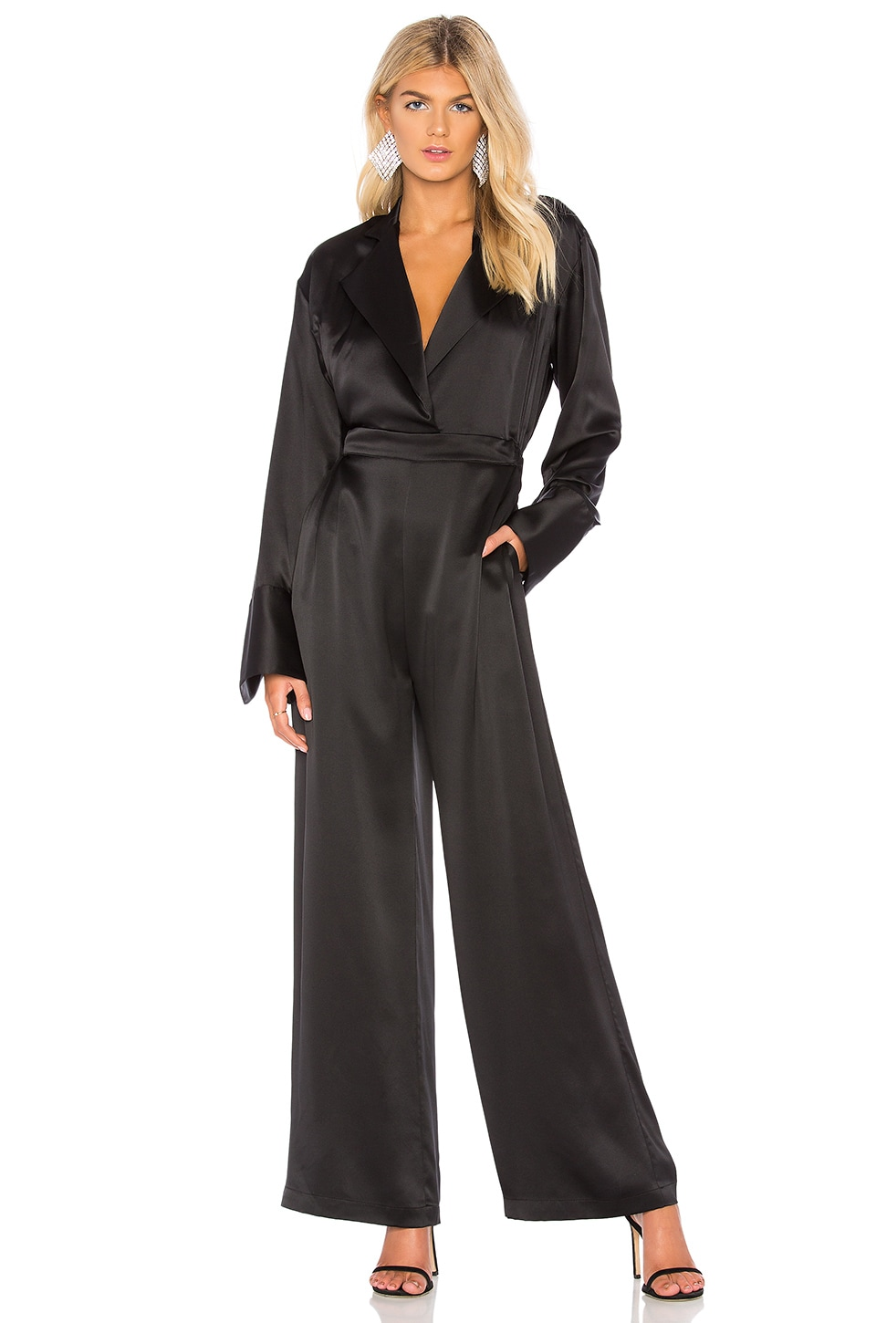 Michael Lo Sordo Super Wide Leg Jumpsuit in Black