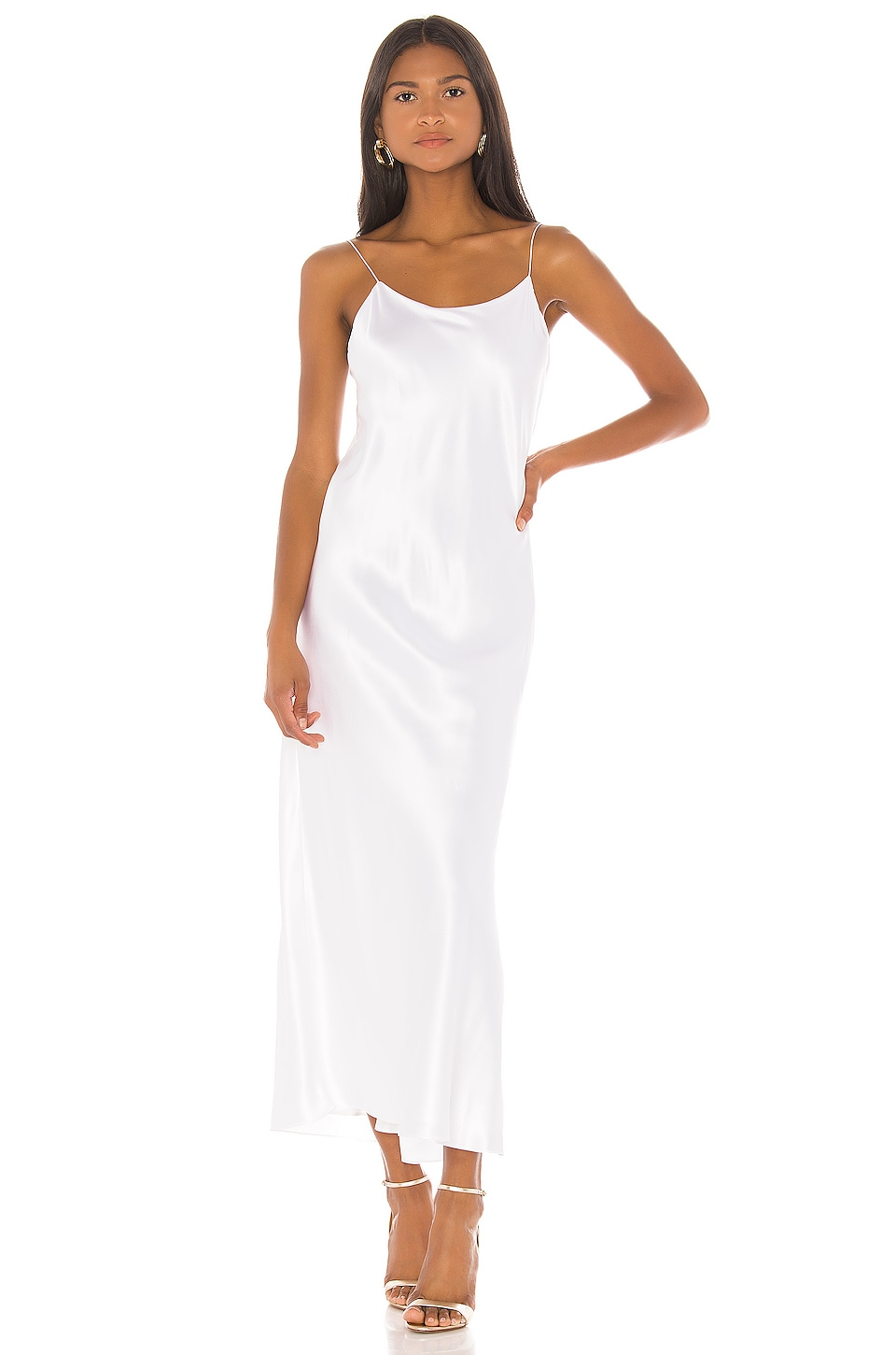 Michael Lo Sordo Bias Cut Camisole Maxi Dress in White