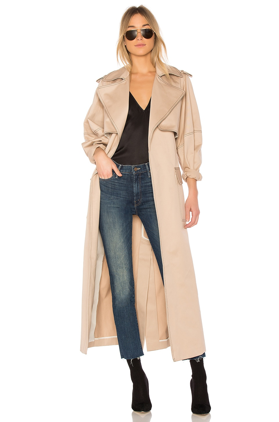 Michael Lo Sordo Relaxed Cocoon Trench With Contrast Stitch in Nude