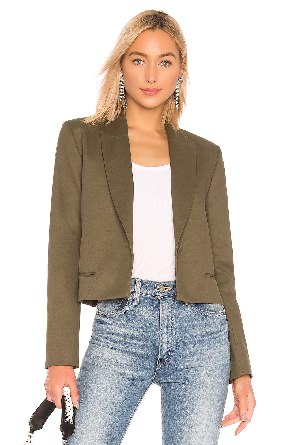 Michael Lo Sordo Crop Blazer in Green