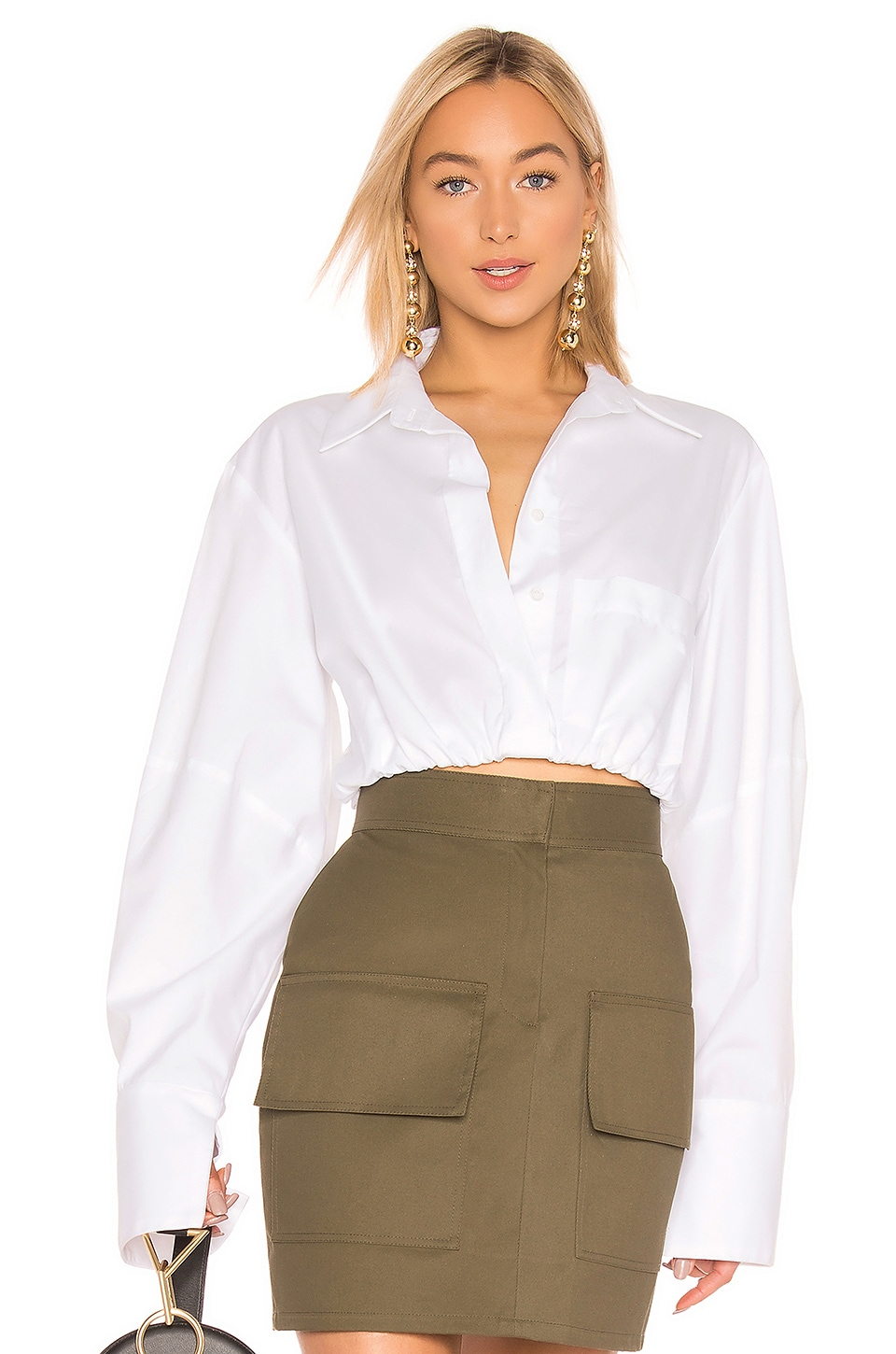 Michael Lo Sordo Crop Cocoon Painters Blouse in White