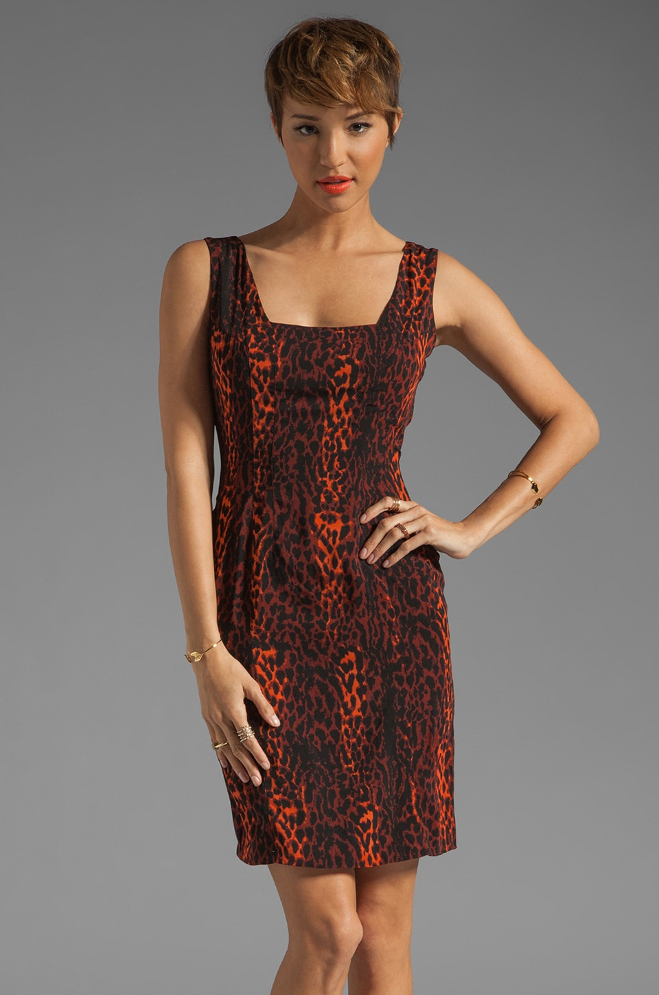 MM Couture by Miss Me Sleeveless Sheath Dress in Orange