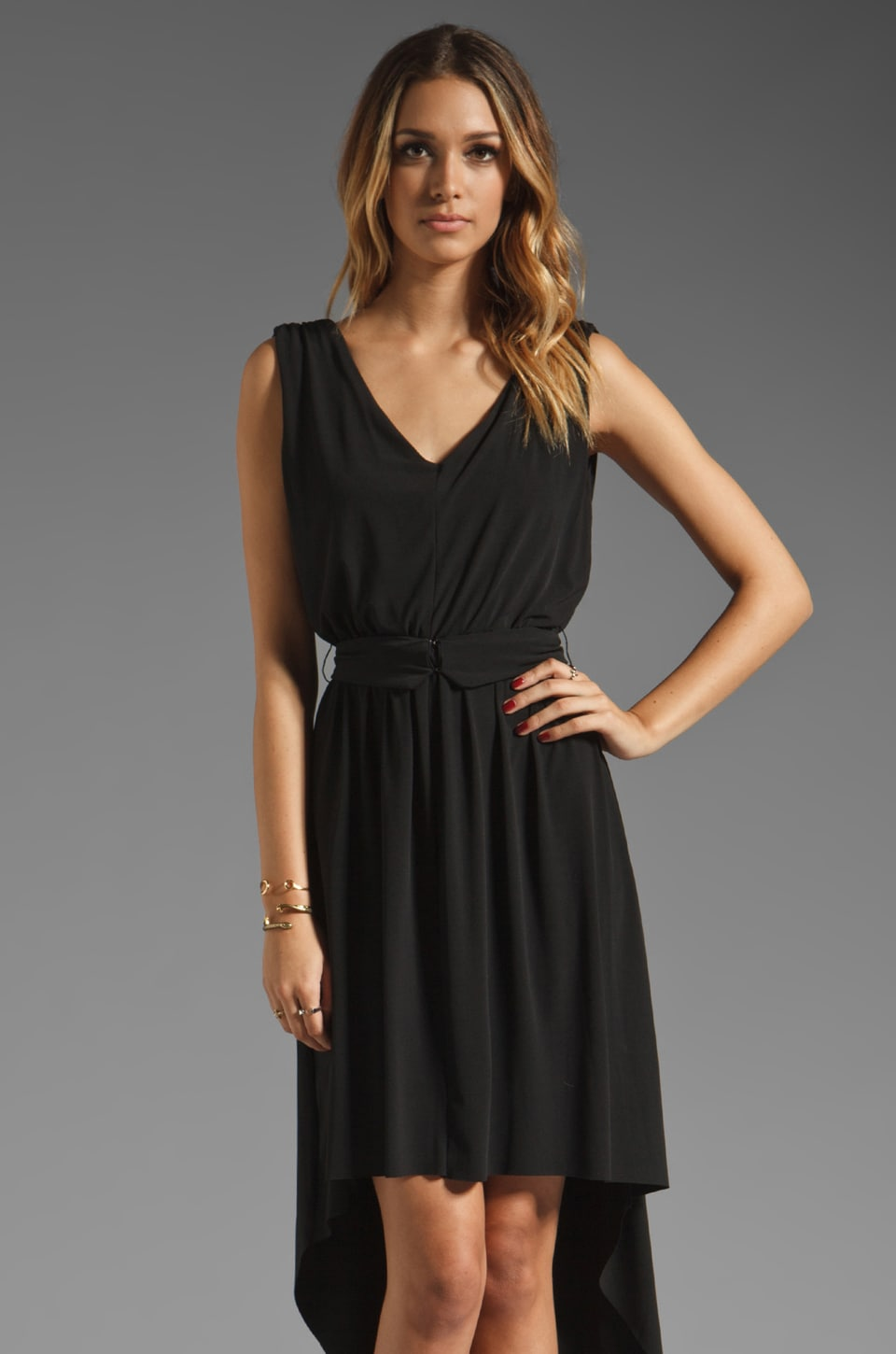 MM Couture by Miss Me V Neck Hi Lo Dress in Black