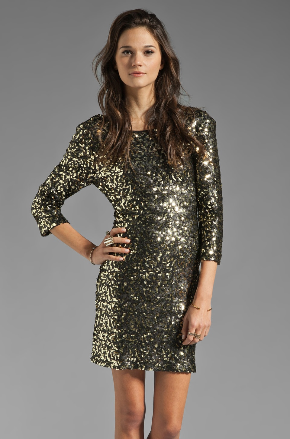 MM Couture by Miss Me 3/4 Sleeve Sequin Dress in Gold/Black