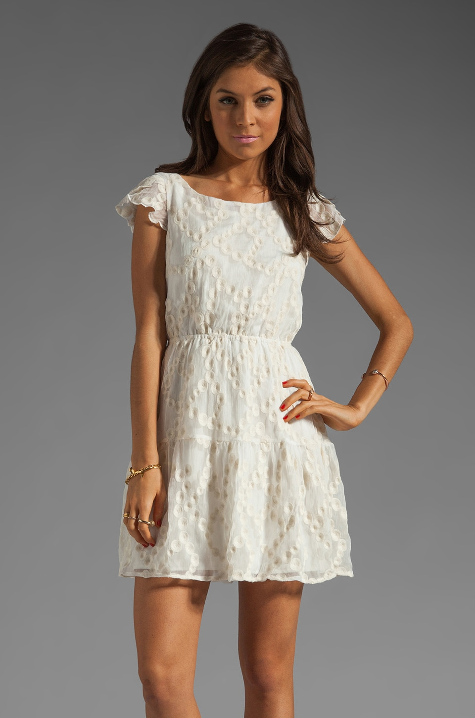 MM Couture by Miss Me Dress with Cap Sleeve in Ivory