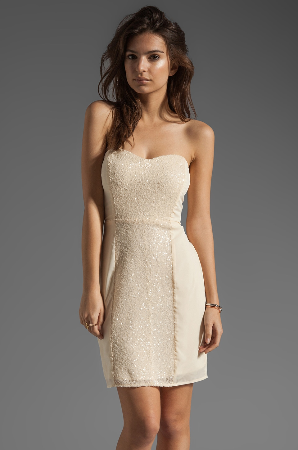 MM Couture by Miss Me Strapless Mini Dress With Sequin in Ivory