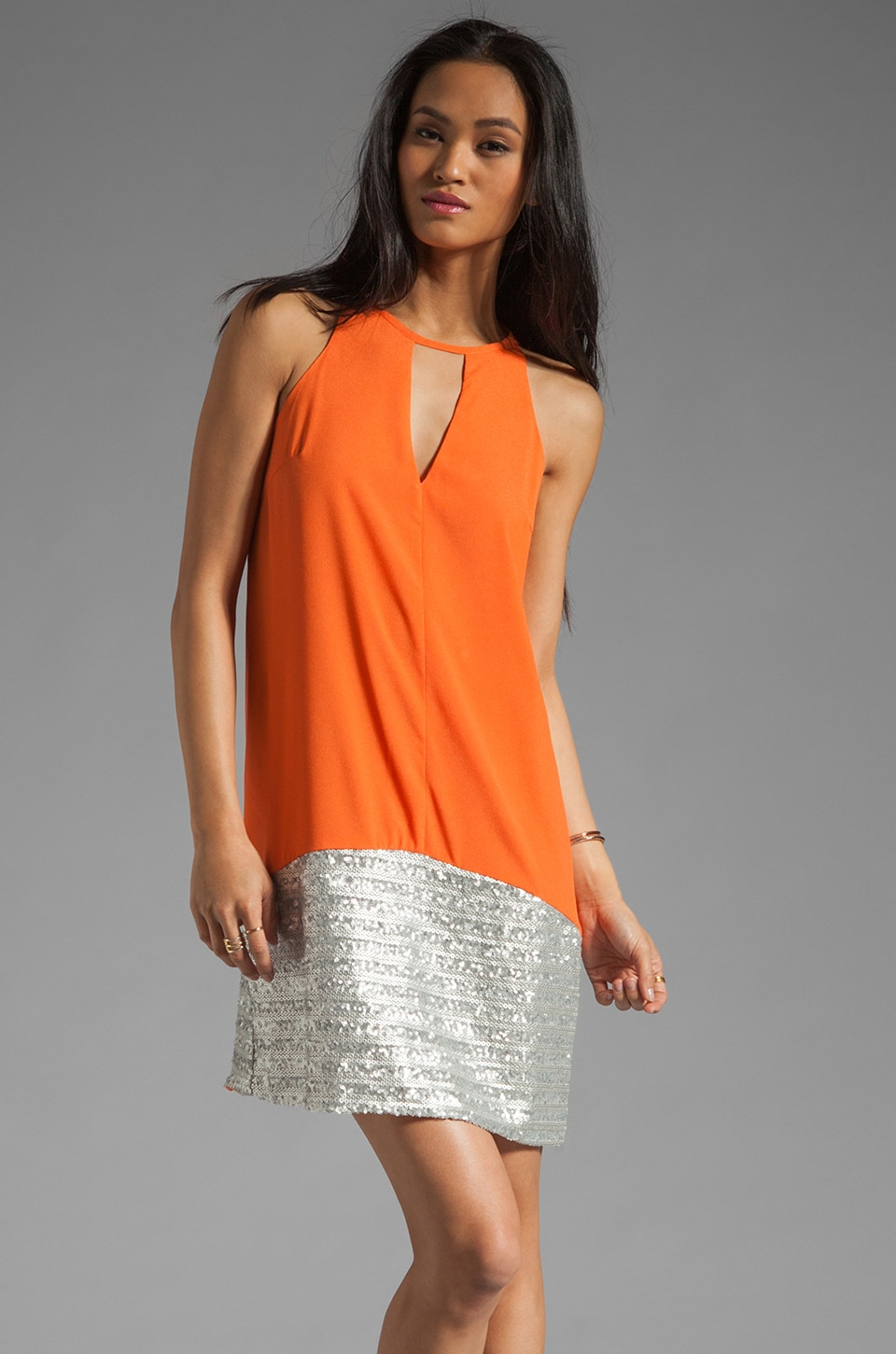 MM Couture by Miss Me Sleeveless Dress With Bottom Sequin in Orange