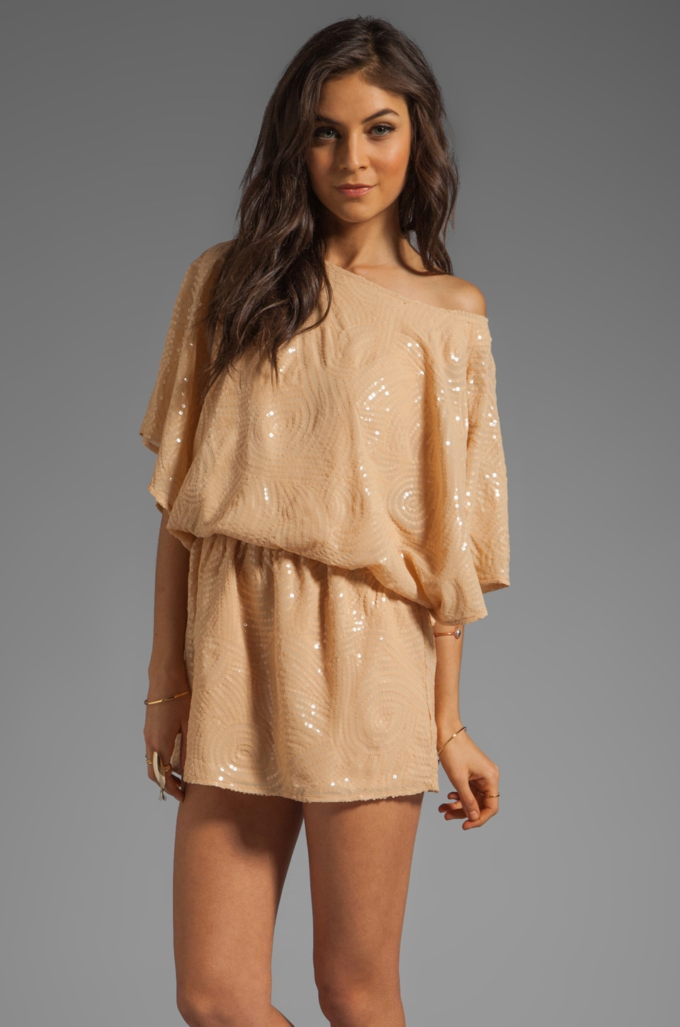 MM Couture by Miss Me Sequin Dress With Flutter Sleeve in Beige