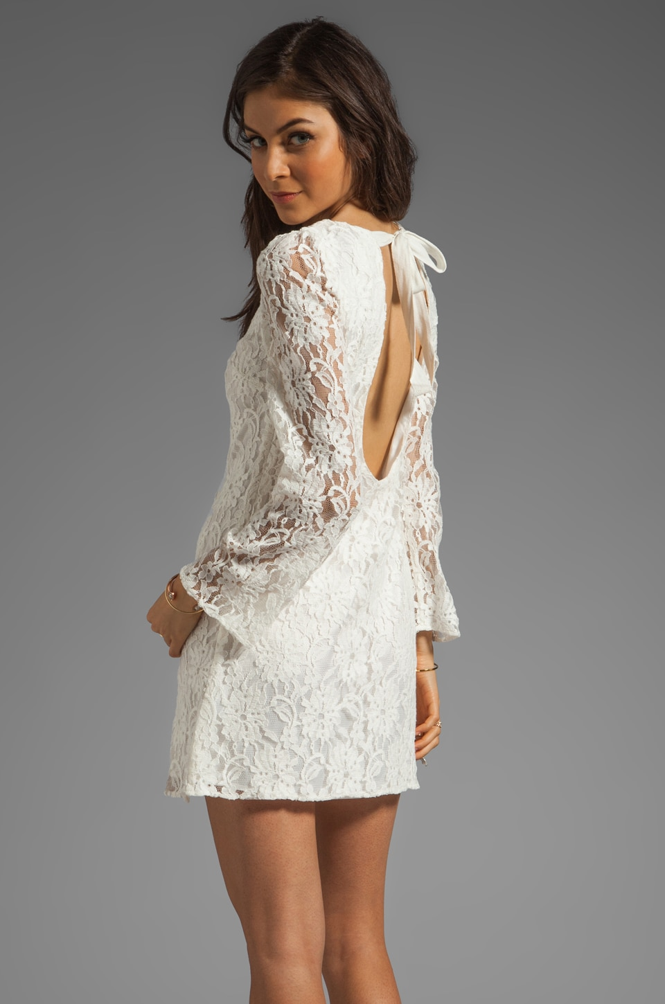 MM Couture by Miss Me Lace Dress With Open Back And Tie in Ivory