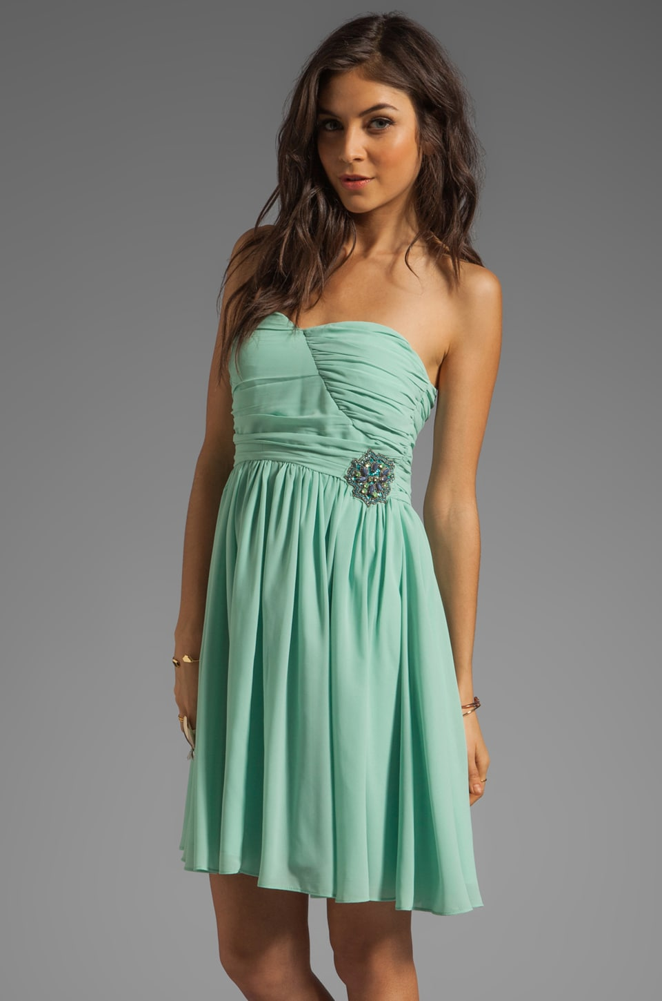 MM Couture by Miss Me Sweetheart Neckline Dress With Embroidery in Mint