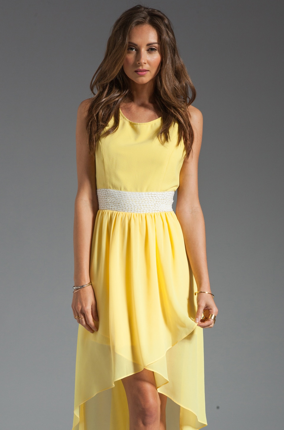 MM Couture by Miss Me Sleeveless Hi Low Dress in Yellow