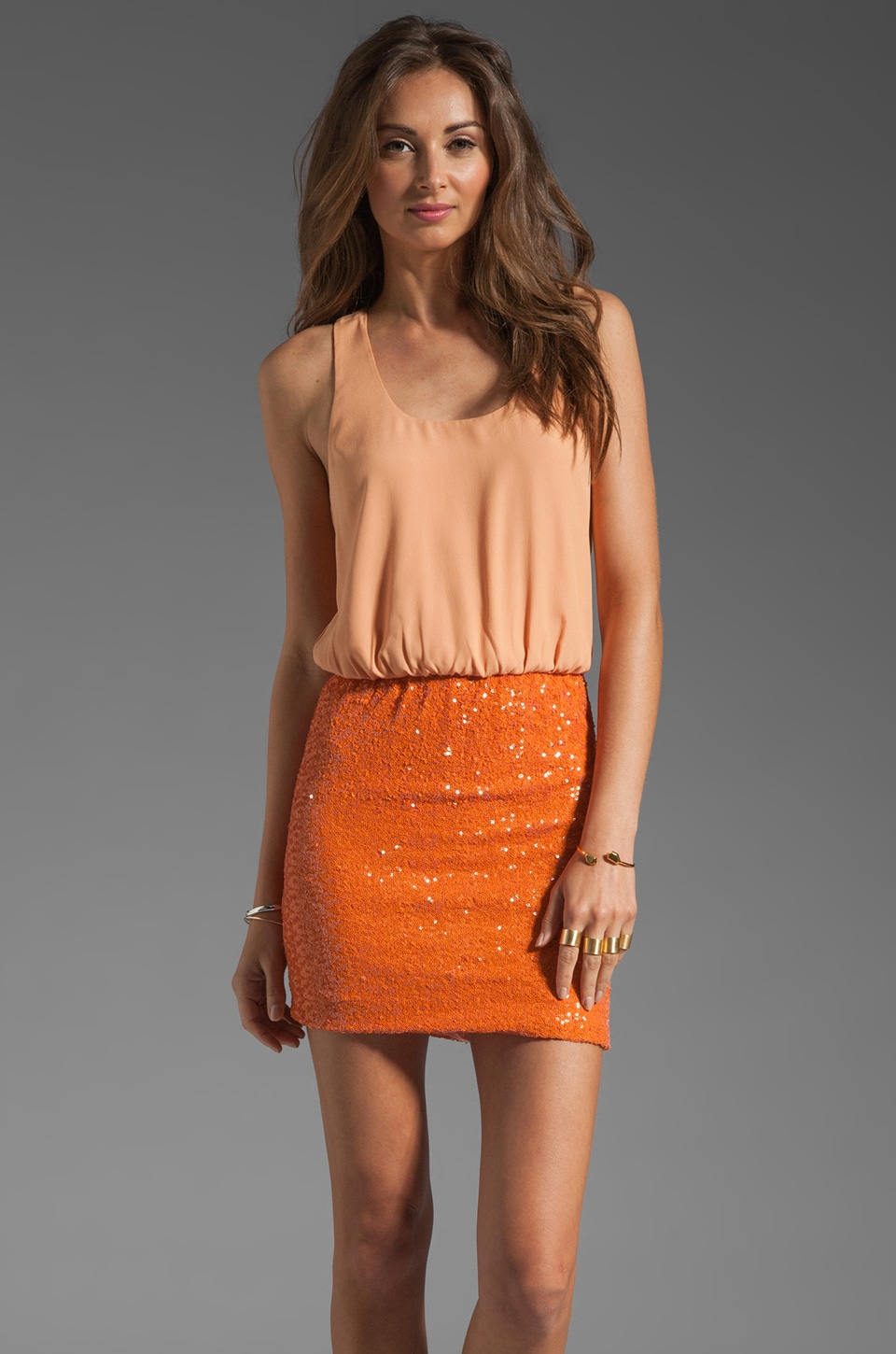 MM Couture by Miss Me Racerback Tank Dress with Sequin Bottom in Orange