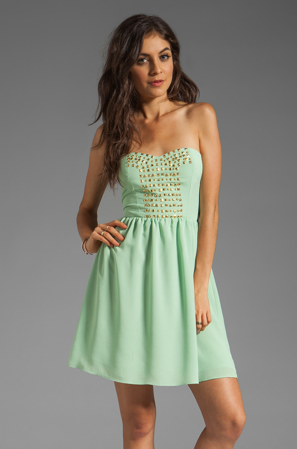 MM Couture by Miss Me Strapless Dress With Studs in Lime