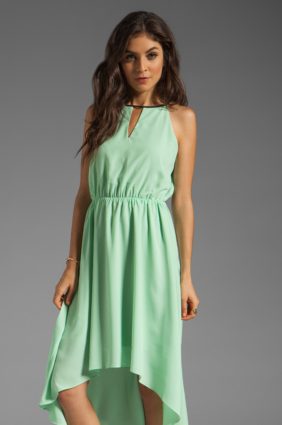 MM Couture by Miss Me Hi Low Dress With Front Keyhole in Lime