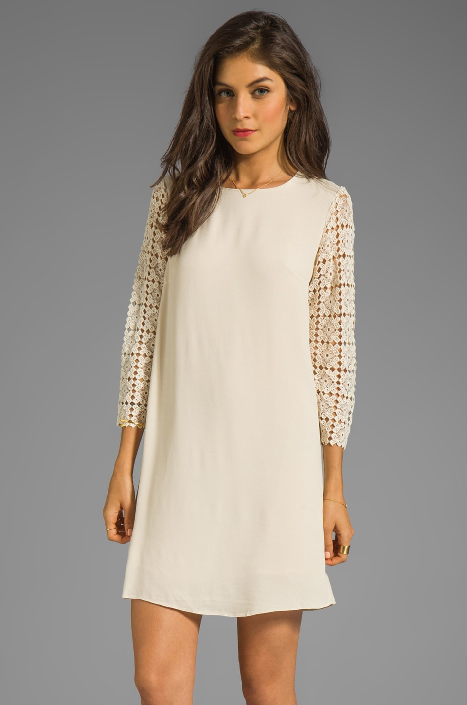 MM Couture by Miss Me Long Sleeve Dress with Lace Sleeve in Beige