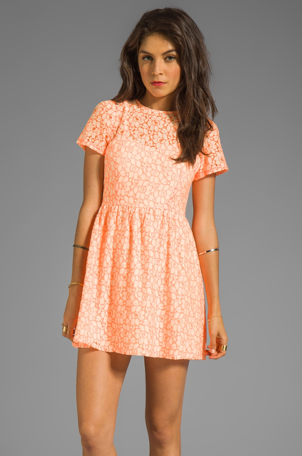 MM Couture by Miss Me Short Sleeve Lace Dress in Orange