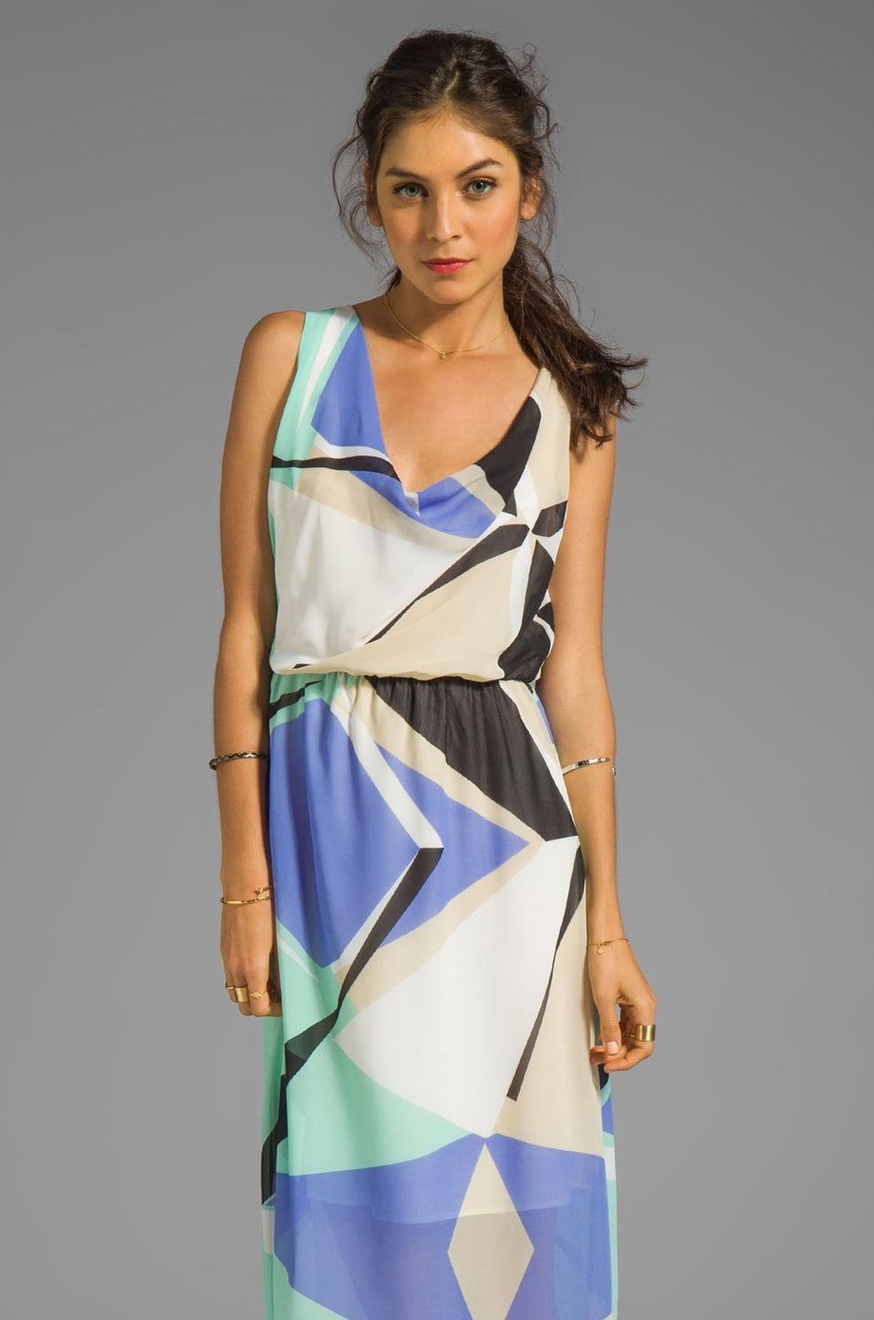 MM Couture by Miss Me Maxi Dress with Drape Back in Multi Print