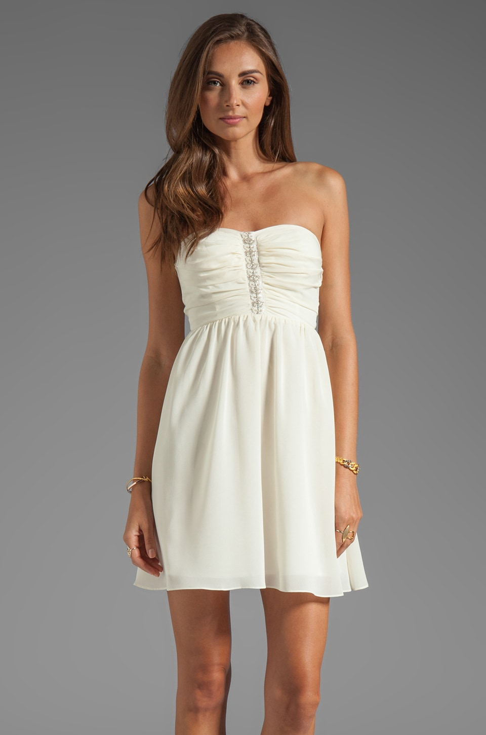MM Couture by Miss Me Strapless Dress in Ivory