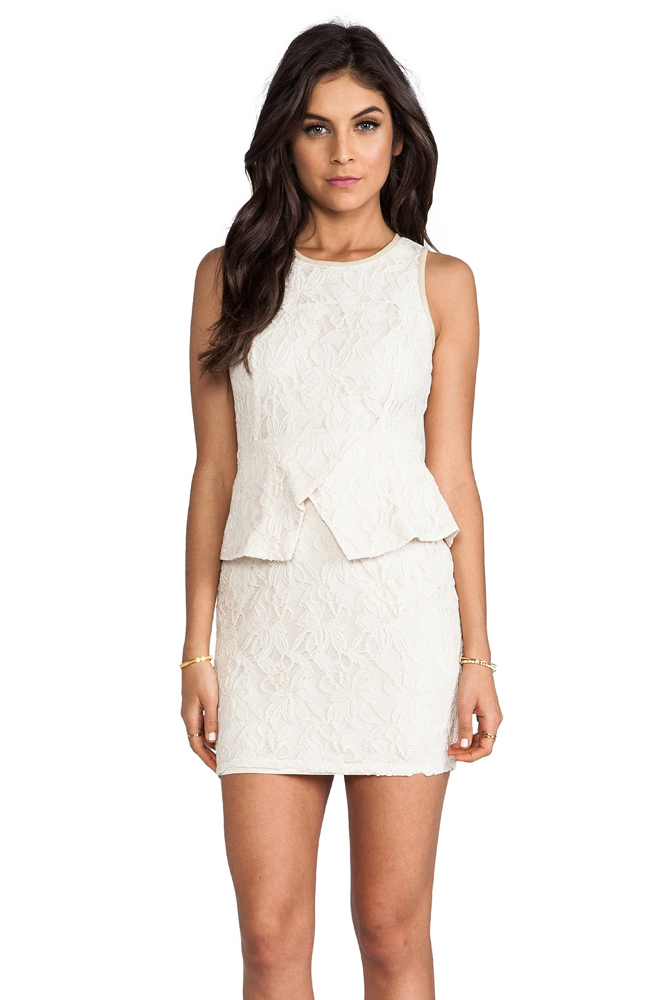 MM Couture by Miss Me Lace Peplum Dress in Ivory