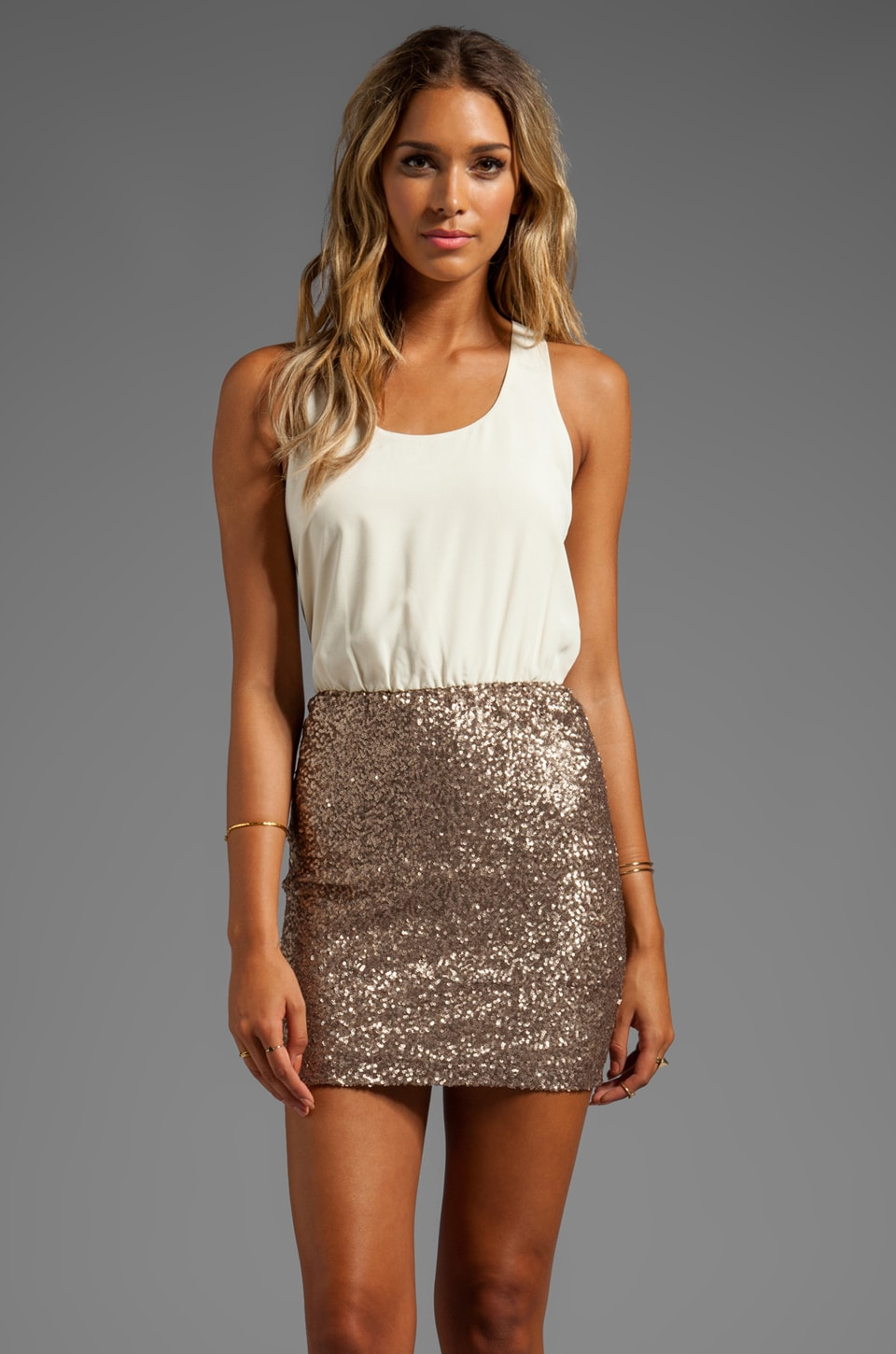 MM Couture by Miss Me Racerback Dress w/ Sequin Bottom in Beige