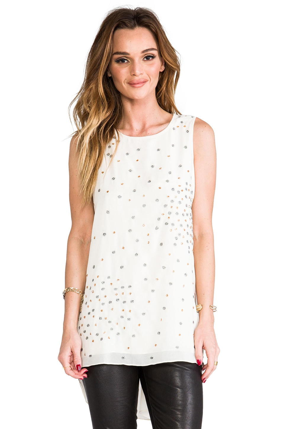 MM Couture by Miss Me Sleeveless Top w/ Beading in Ivory