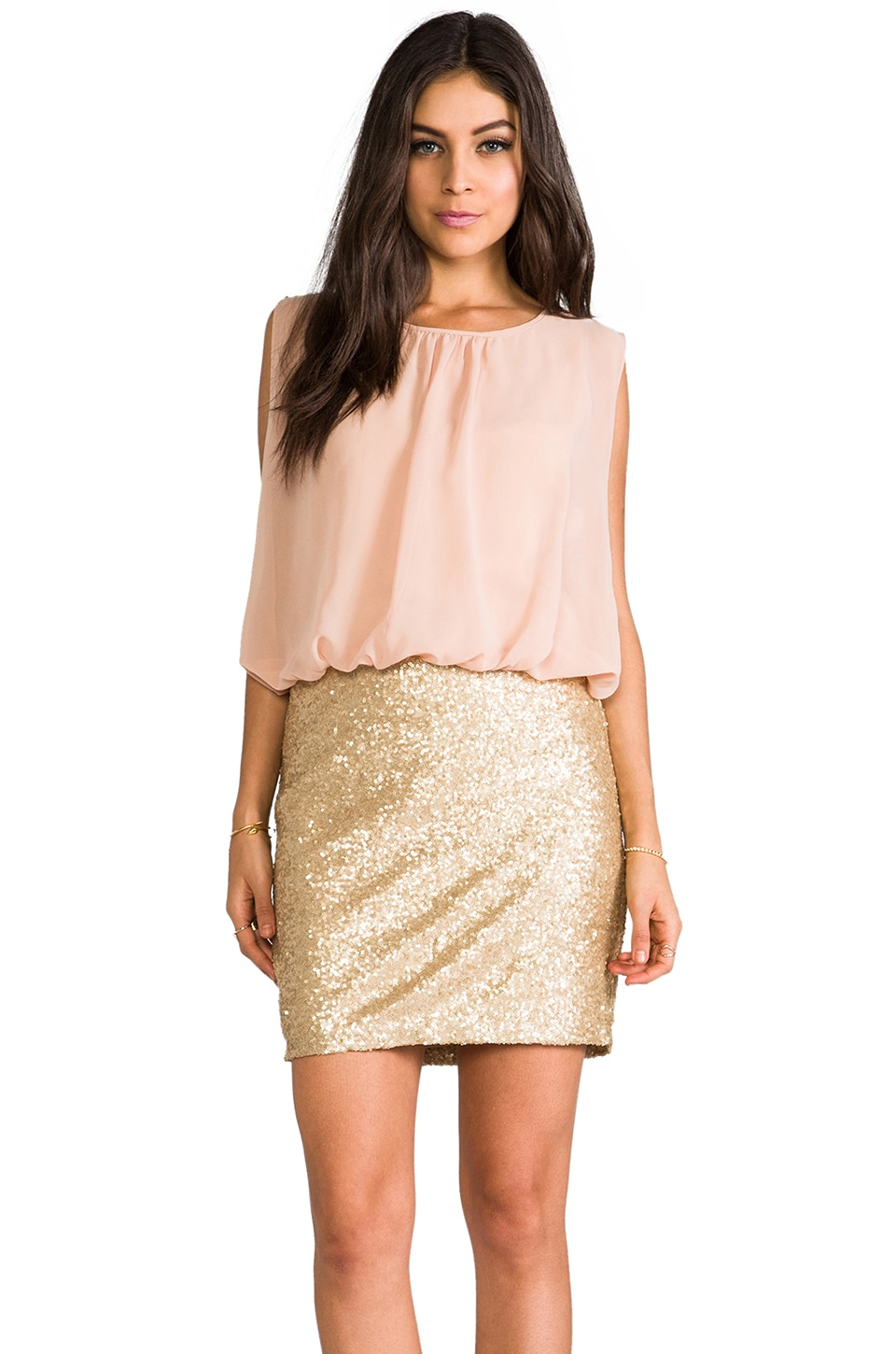MM Couture by Miss Me Sequin Bottom Dress in Gold