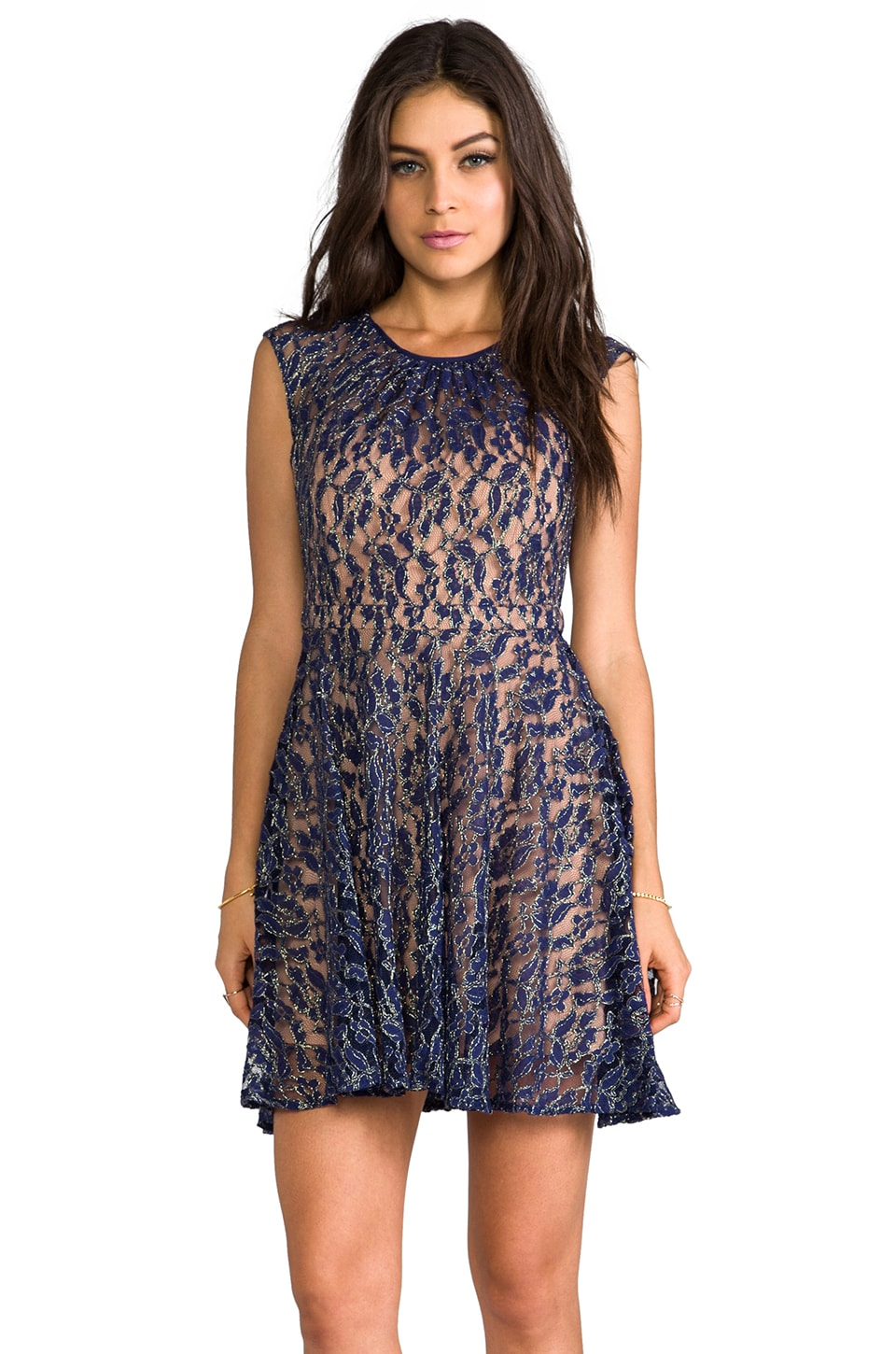 MM Couture by Miss Me Capsleeve Lace Dress in Navy