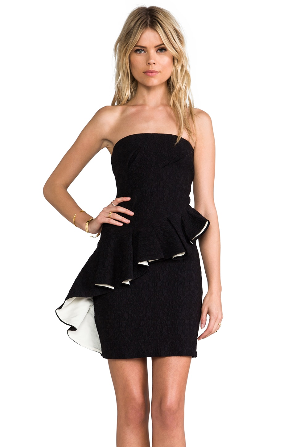 MM Couture by Miss Me Asymmetrical Peplum Dress in Black