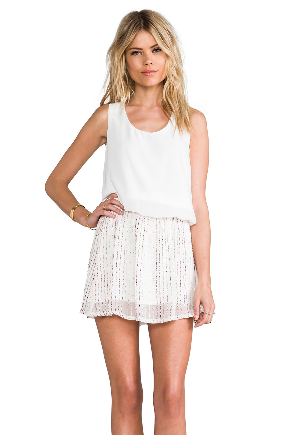MM Couture by Miss Me Sequin Bottom Dress in White