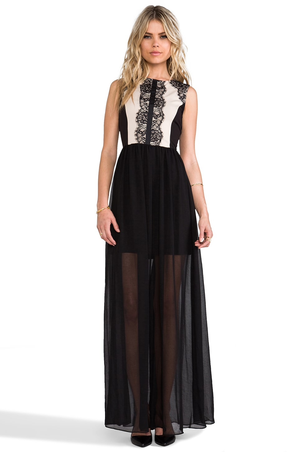 MM Couture by Miss Me Lace Insert Sleeveless Maxi in Black