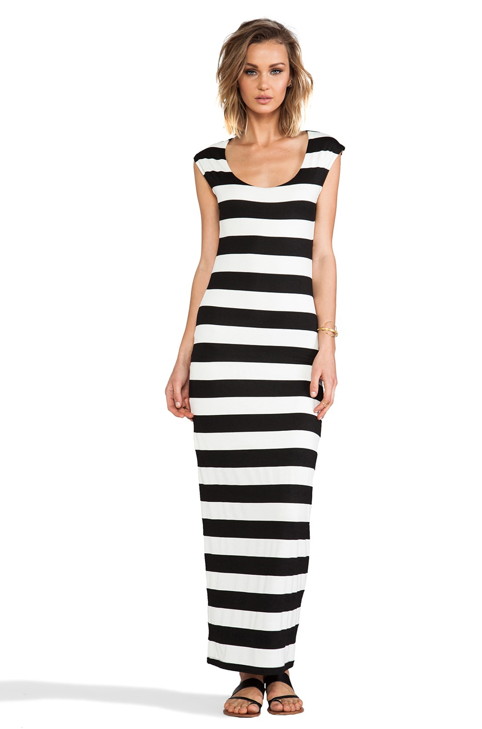 MM Couture by Miss Me Striped Maxi Dress in Black & White