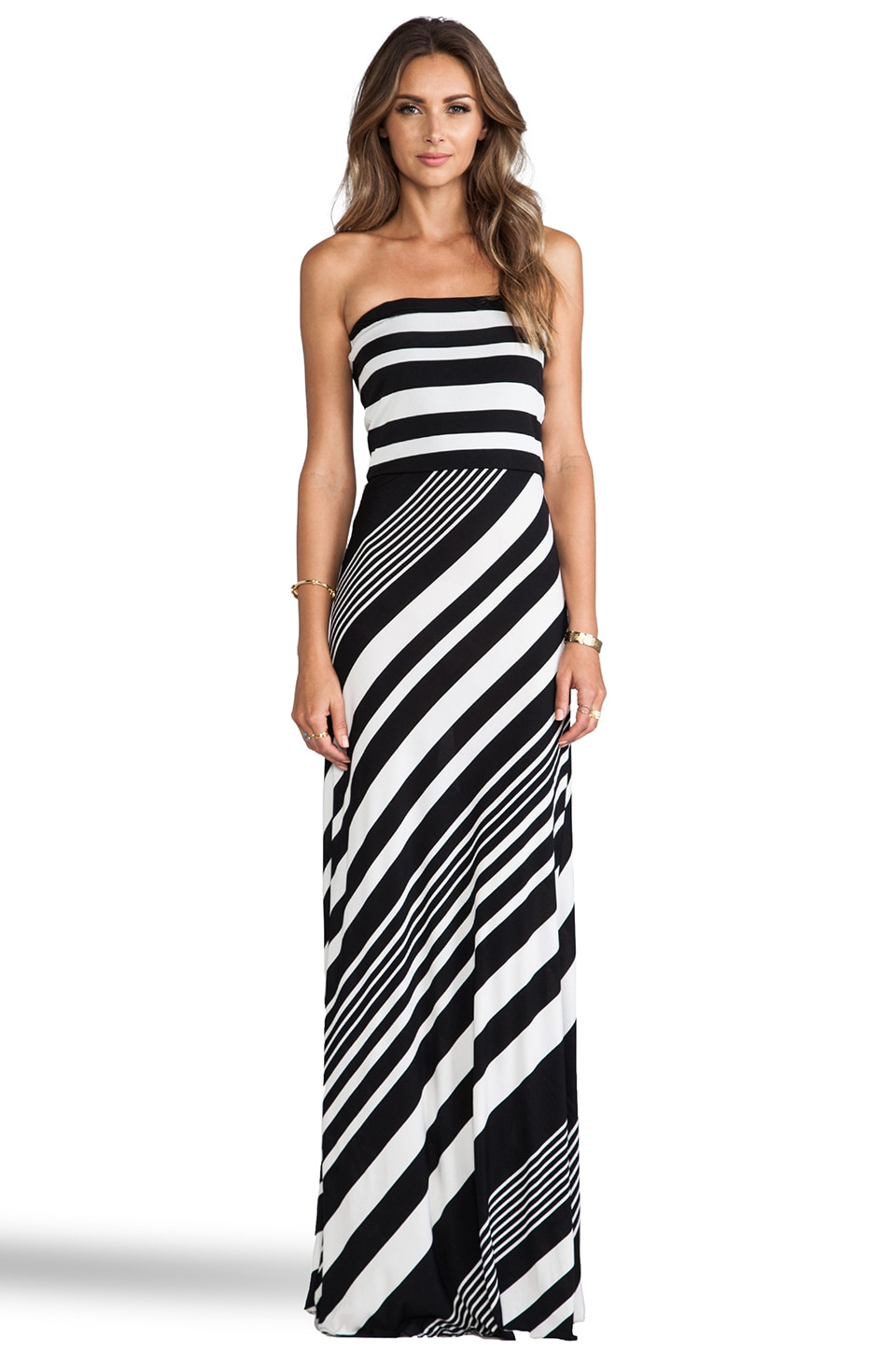 MM Couture by Miss Me Striped Strapless Maxi Dress in Black & White
