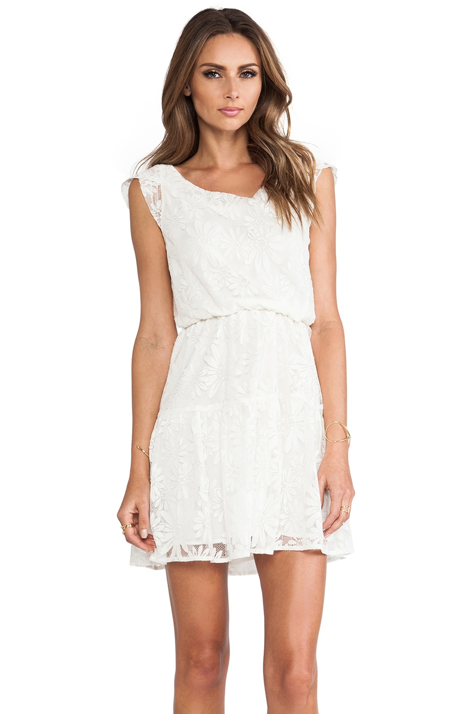 MM Couture by Miss Me Cap Sleeve Lace Dress in White