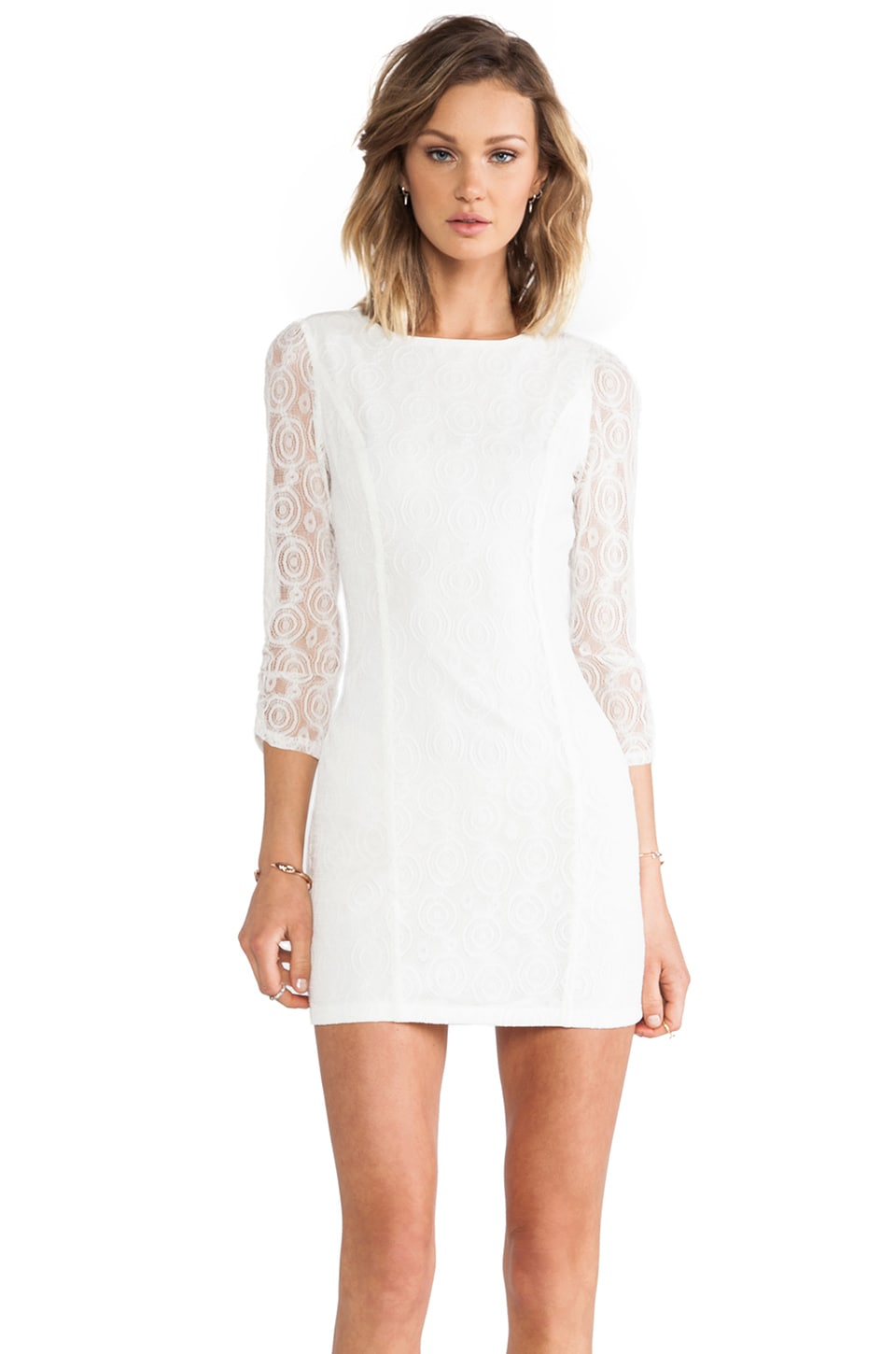 MM Couture by Miss Me Allover Lace Dress in White