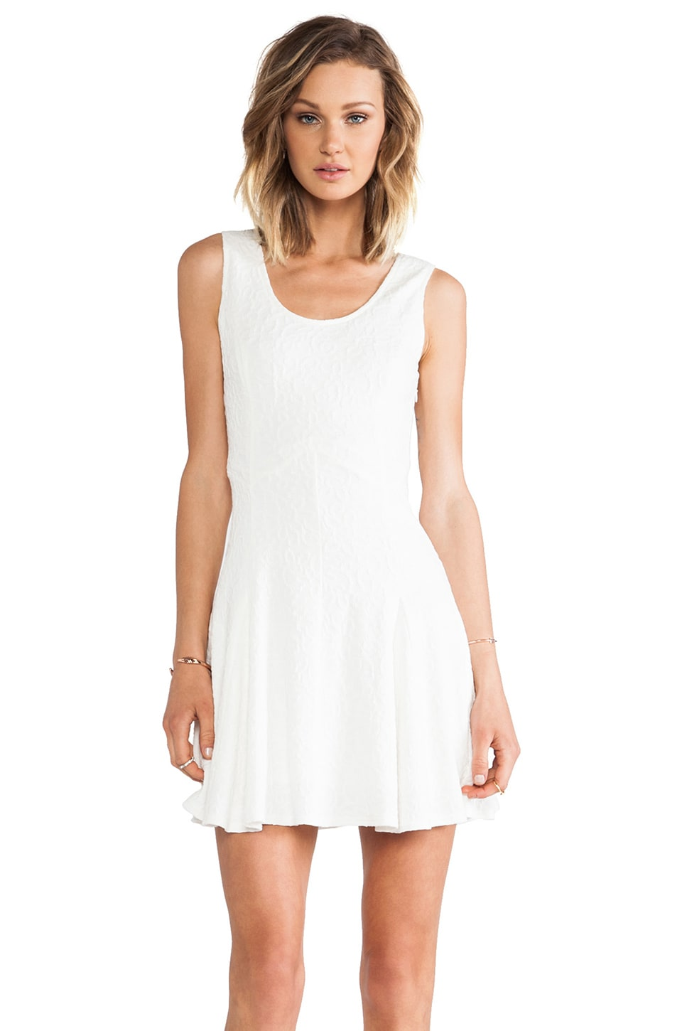 MM Couture by Miss Me Lace Fit and Flare Dress in White