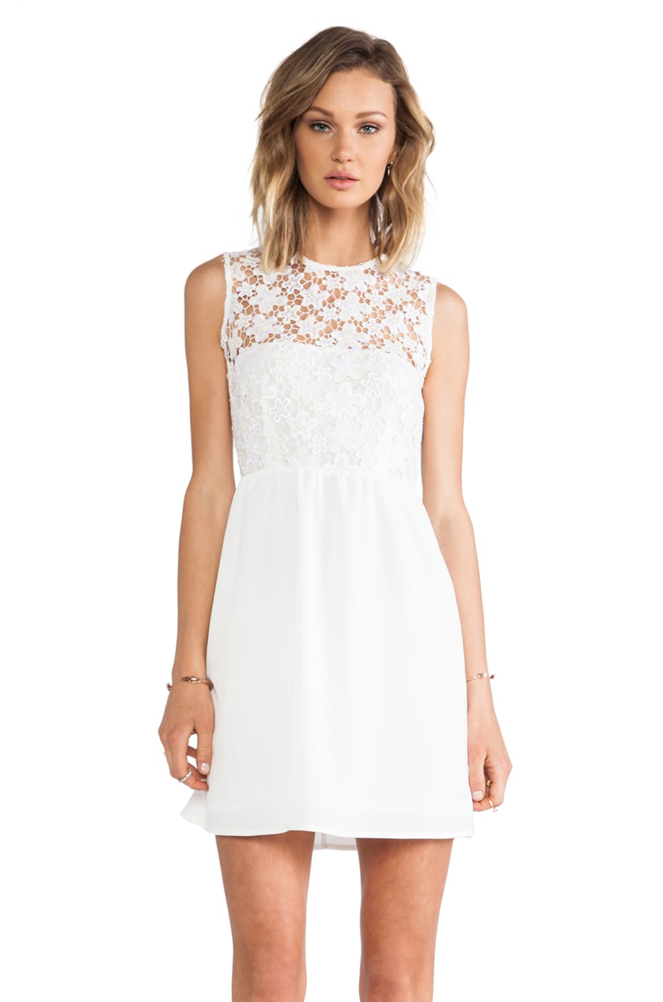 MM Couture by Miss Me Lace Top Dress in White