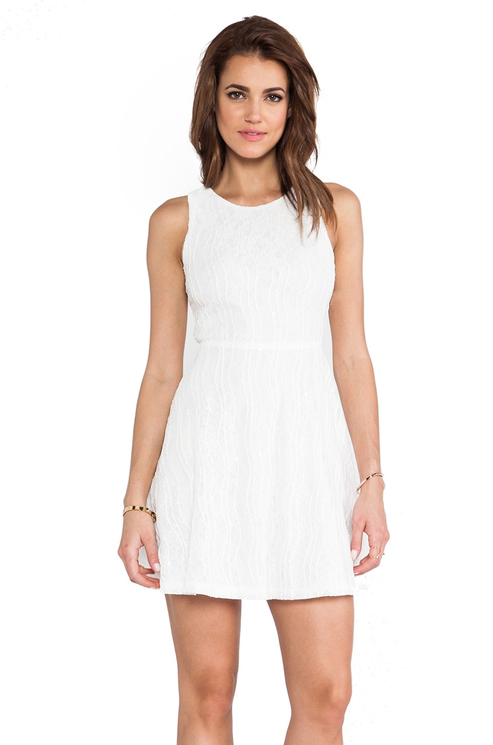 MM Couture by Miss Me Open Back Racerfront Dress in White