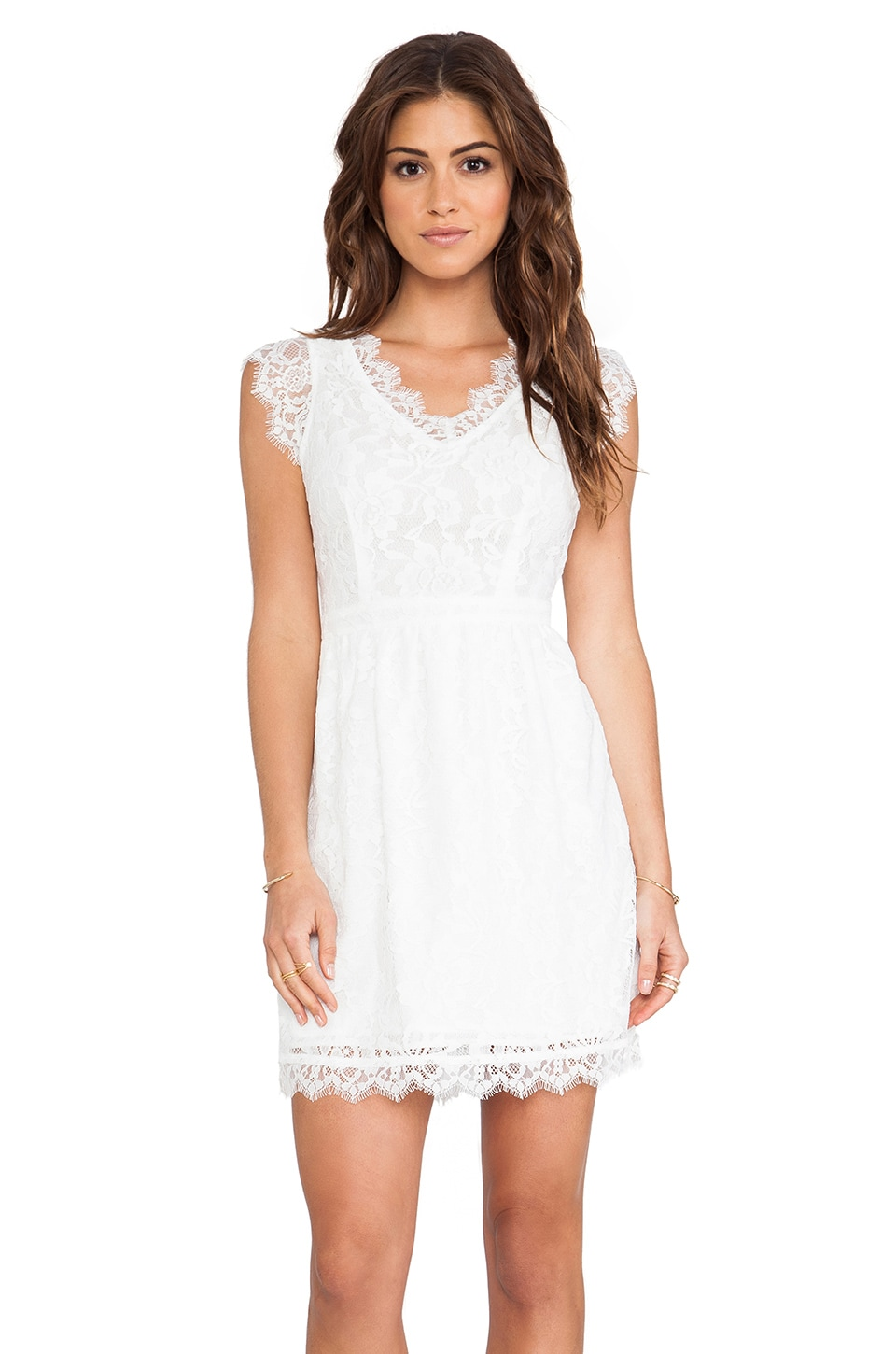 MM Couture by Miss Me Cap Sleeve Allover Lace Dress in White