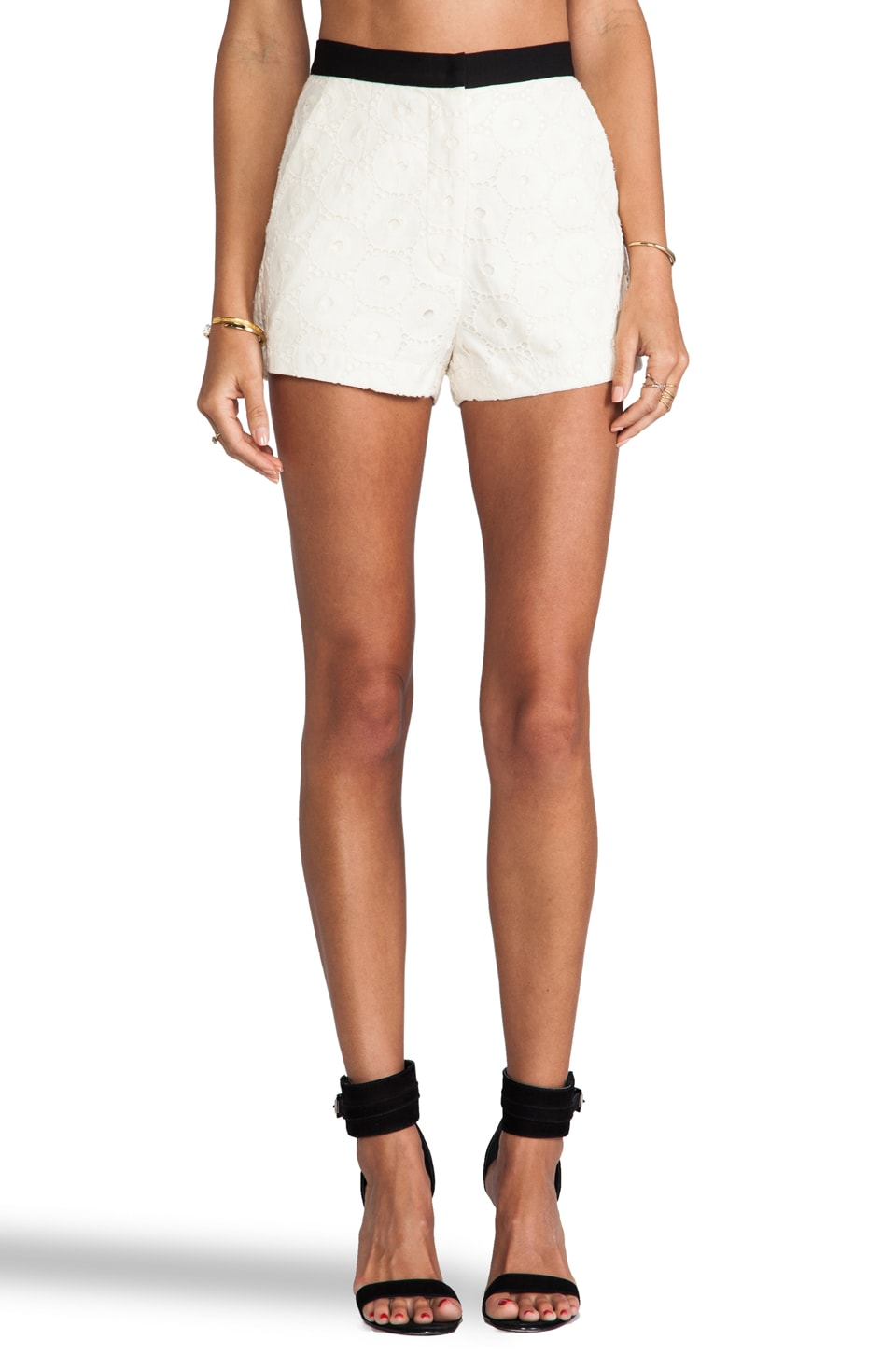 MM Couture by Miss Me Eyelet Shorts in White