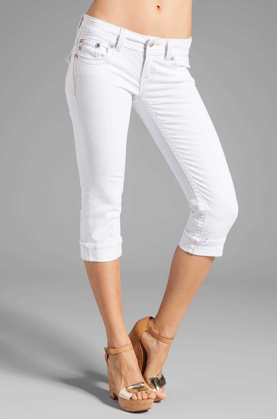 White Denim Capri Pants - Pant Row