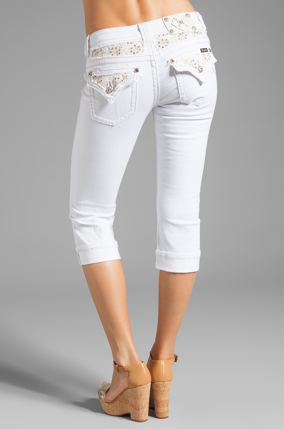 white denim capri pants - Pi Pants