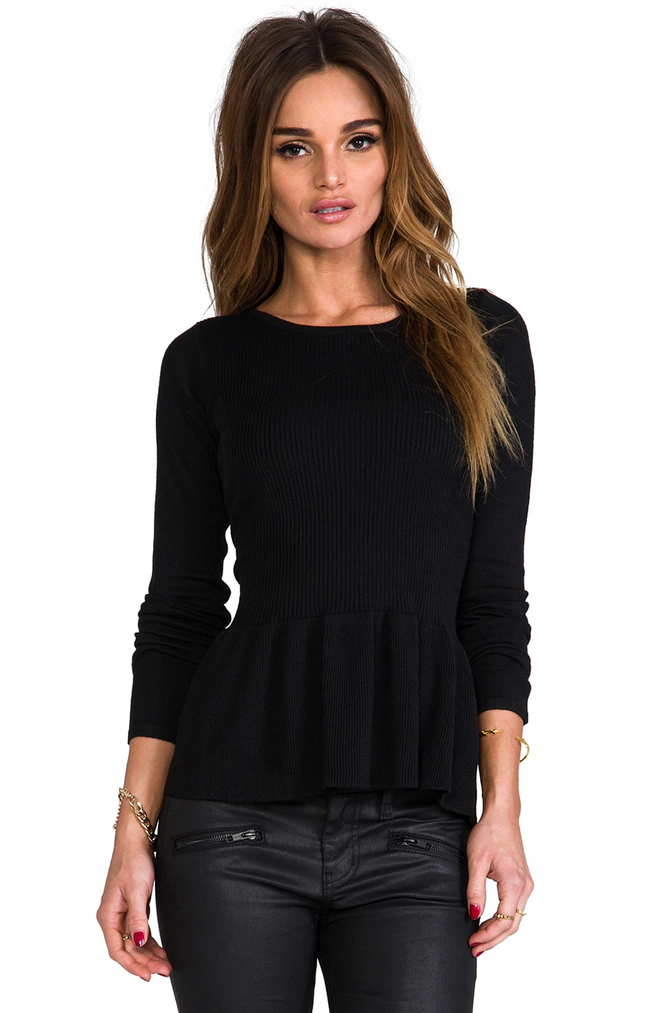 MM Couture by Miss Me Peplum Sweater in Black