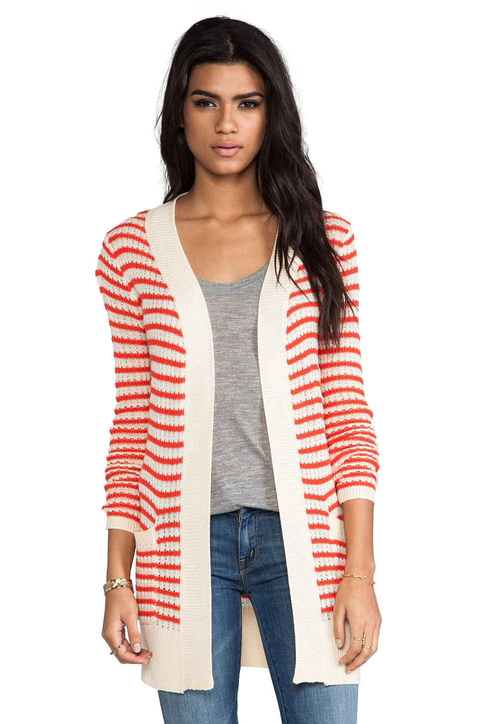 MM Couture by Miss Me Long Cardigan in Red Stripe