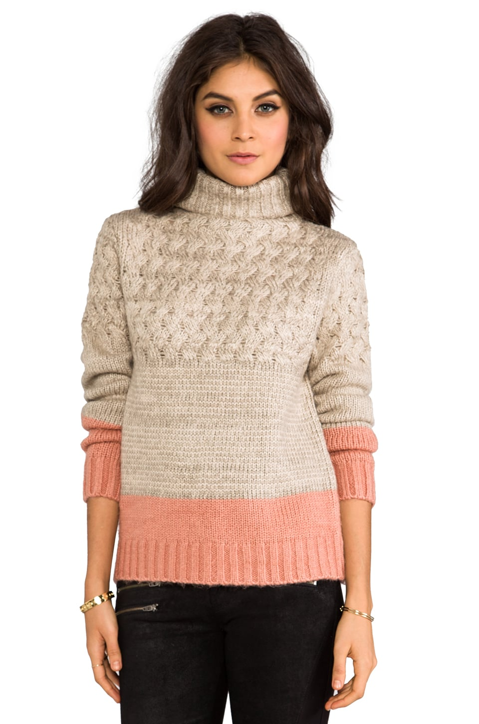 MM Couture by Miss Me Turtleneck Sweater in Beige