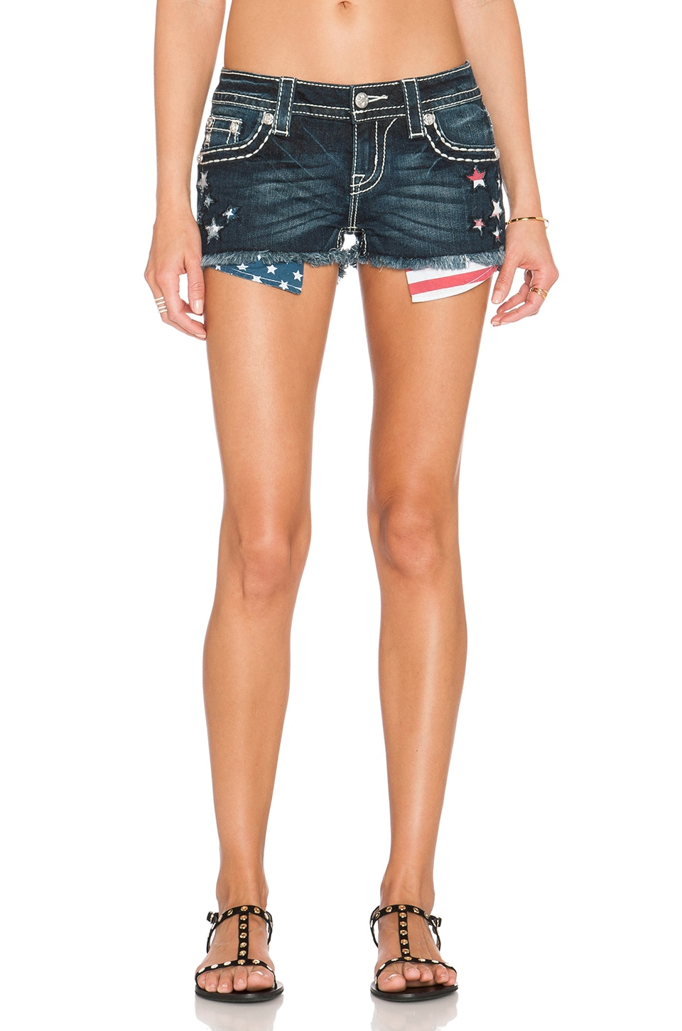 Miss Me Jeans Distressed Cut Off Short in Dark 361