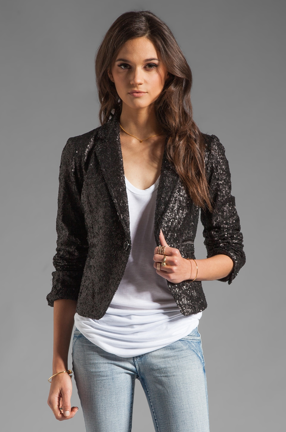 MM Couture by Miss Me Allover Sequin Jacket in Black